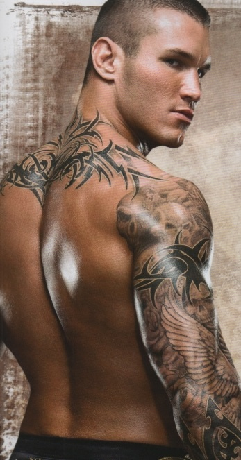 Randy Orton Tattoos Design Pictures Back, Skull Sleeve, Right Arm